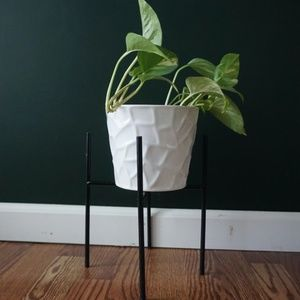 vtg 90s collapsible black metal legged plant stand